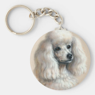 White Poodle Basic Round Button Keychain