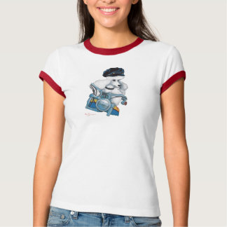 White Poodle Biker Chick in Color T-Shirt