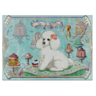 White Poodle Cupcake Tea Party Cutting Board