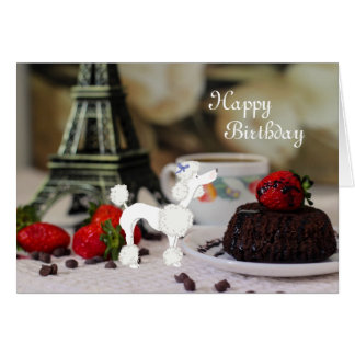 White Poodle Eiffel Tower Paris Happy Birthday Card