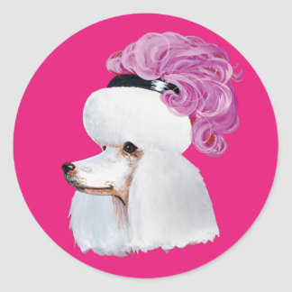 White Poodle in a Feather Hat Classic Round Sticker
