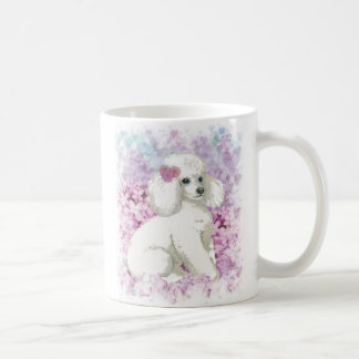 White Poodle in the Lilacs Coffee Mug Cup