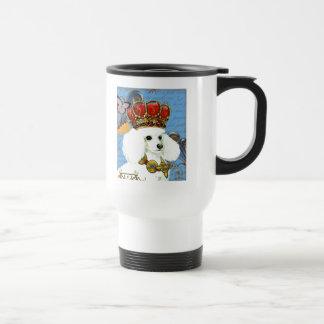 White Poodle King Painting Dress up Travel Mug