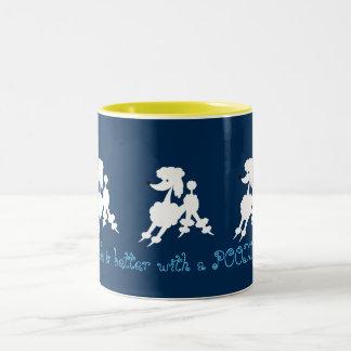 White Poodle Lovers Two-Tone Coffee Mug