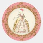 White Poodle Marie Antoinette Ornate Art Round Sticker