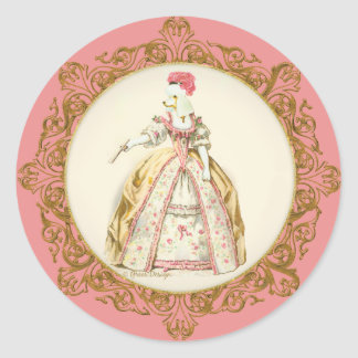 White Poodle Marie Antoinette Ornate Art Round Sticker