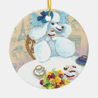 White Poodle n Cupcakes Ornament