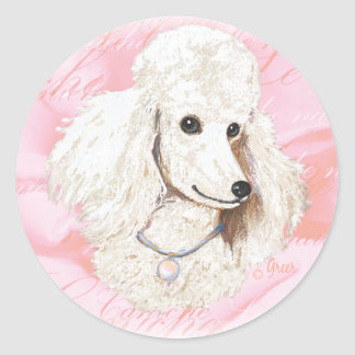 White Poodle n Rose Portrait Round Sticker
