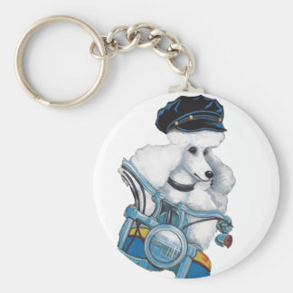 "White Poodle on a Harley Keychain ""Biker Chick"""