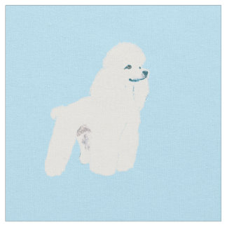 White Poodle on Blue Fabric