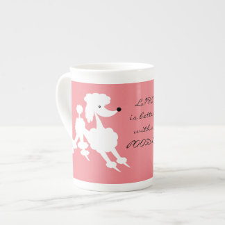 White Poodle on Salmon background Tea Cup