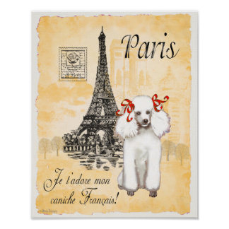 White Poodle Paris Eiffel Tower Vintage Print