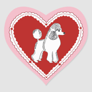 White Poodle Pink and Red Heart Stickers