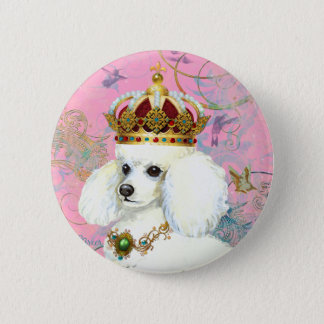 White Poodle Princess with Hummingbirds 2 Inch Round Button
