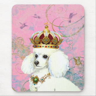 White Poodle Princess with Hummingbirds Mouse Pad