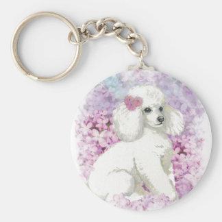 White Poodle Puppy Lilacs Art Design Keychain