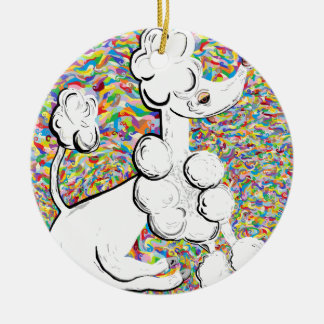 White Poodle Round Ceramic Ornament