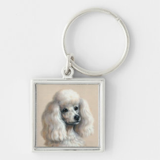 White Poodle Silver-Colored Square Keychain