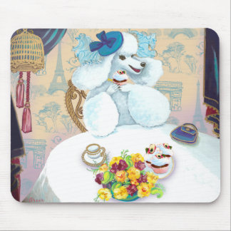 White Poodle Tea Party Mouse Pad