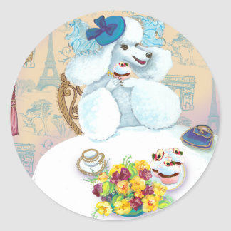 White Poodle Tea Party Round Sticker