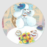 White Poodle Tea Party with Cupcakes Stickers