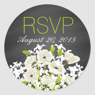 White Poppies and Chalkboard RSVP Label