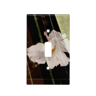 White poppy with striped background light switch cover