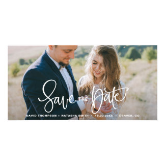 White Pretty Hand Lettering Save the Date Photo Card