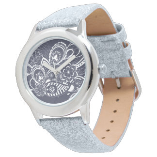 White pretty Paisley floral pattern Wrist Watch