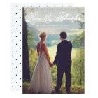 White Pretty Script Wedding Photo Thank You Card