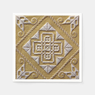 White PRINTED cutwork embroidery 1 on linen custom Paper Napkin
