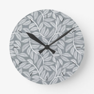 White printed embroidery leaves round clock