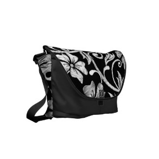 White printed hibiscus embroidery commuter bags