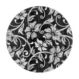 White printed hibiscus embroidery cutting board