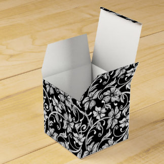 White printed hibiscus embroidery favor box