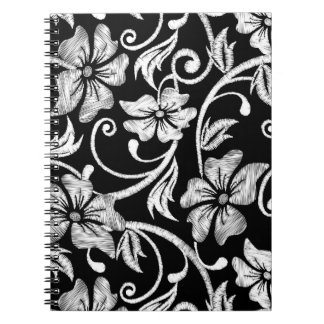White printed hibiscus embroidery notebook