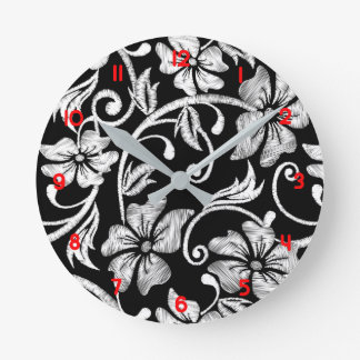 White printed hibiscus embroidery round clock