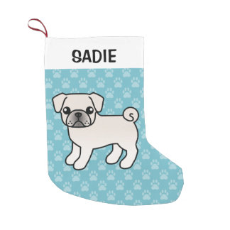 White Pug Cartoon Dog Illustration Small Christmas Stocking