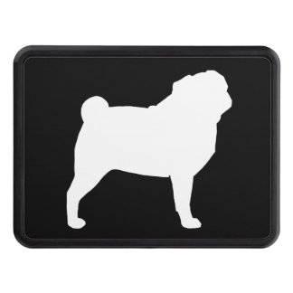 White Pug Silhouette Trailer Hitch Cover