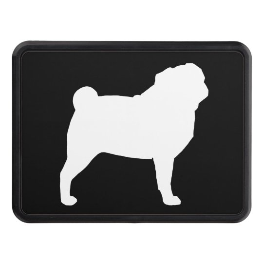 White Pug Silhouette Trailer Hitch Covers
