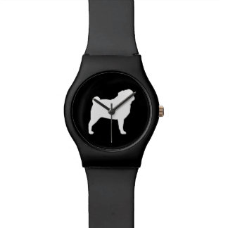 White Pug Silhouette Wristwatch