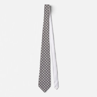 White Pug Silhouettes on Grey Background Tie