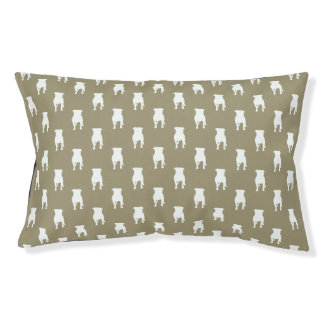 White Pug Silhouettes on Khaki Background Small Dog Bed