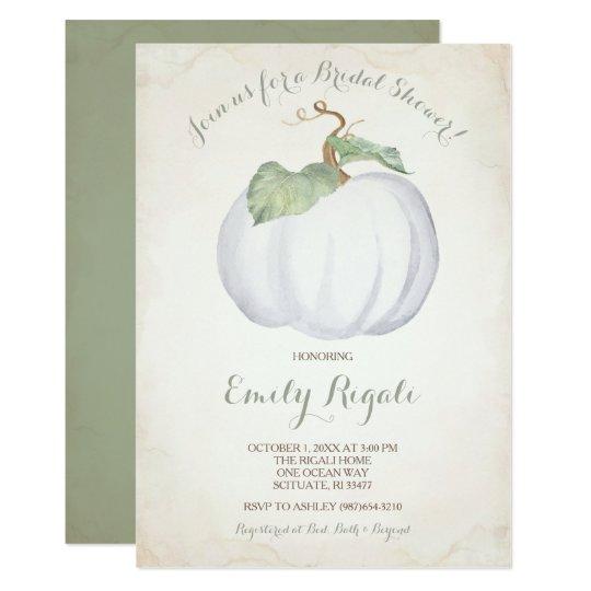White Pumpkin Bridal Shower Invitation