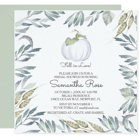 White Pumpkin BRIDAL SHOWER Invite - Square