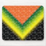 White pumpkin pattern on orange black yellow green