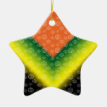 White pumpkin pattern on orange black yellow green ornaments