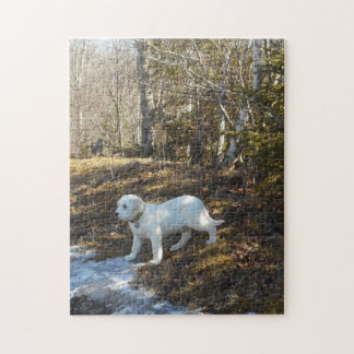 White Puppy Standing By Ice Puzzle