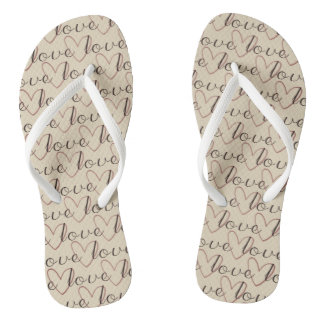 White Pure Love Word Pattern Romantic Ladylike Flip Flops
