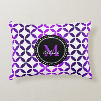 White Purple Abstract Circles Pattern Accent Pillow